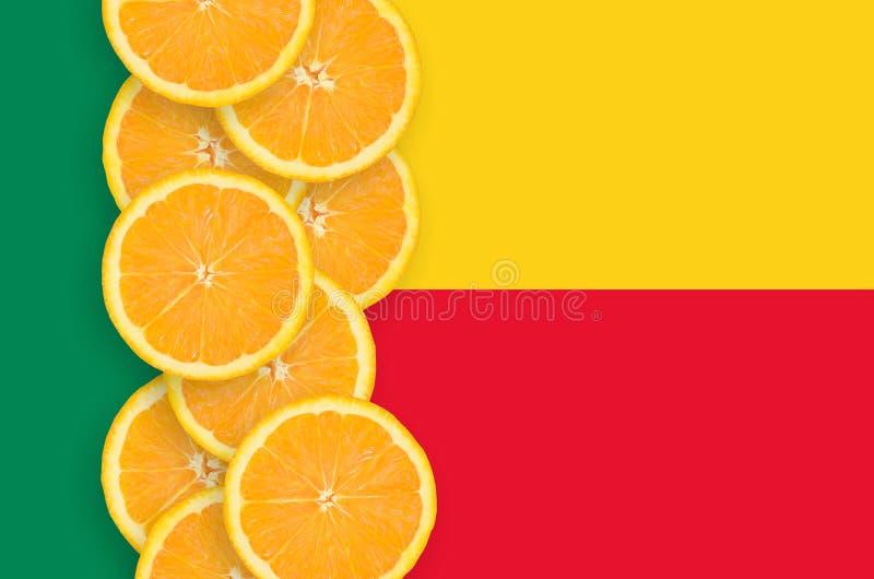 Vertikal rad för Benin flagga- och citrusfruktskivor royaltyfria bilder