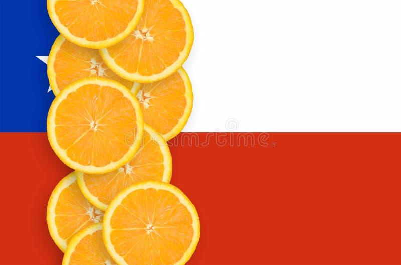 Vertikal rad för Chile flagga- och citrusfruktskivor arkivfoton