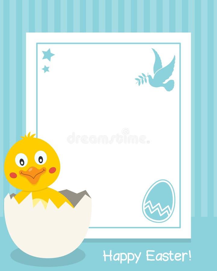 Vertikal ram för lycklig påsk med fågelungen royaltyfri illustrationer