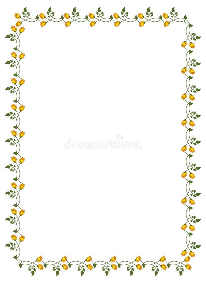 Vertikal ram med gula rosor royaltyfri illustrationer