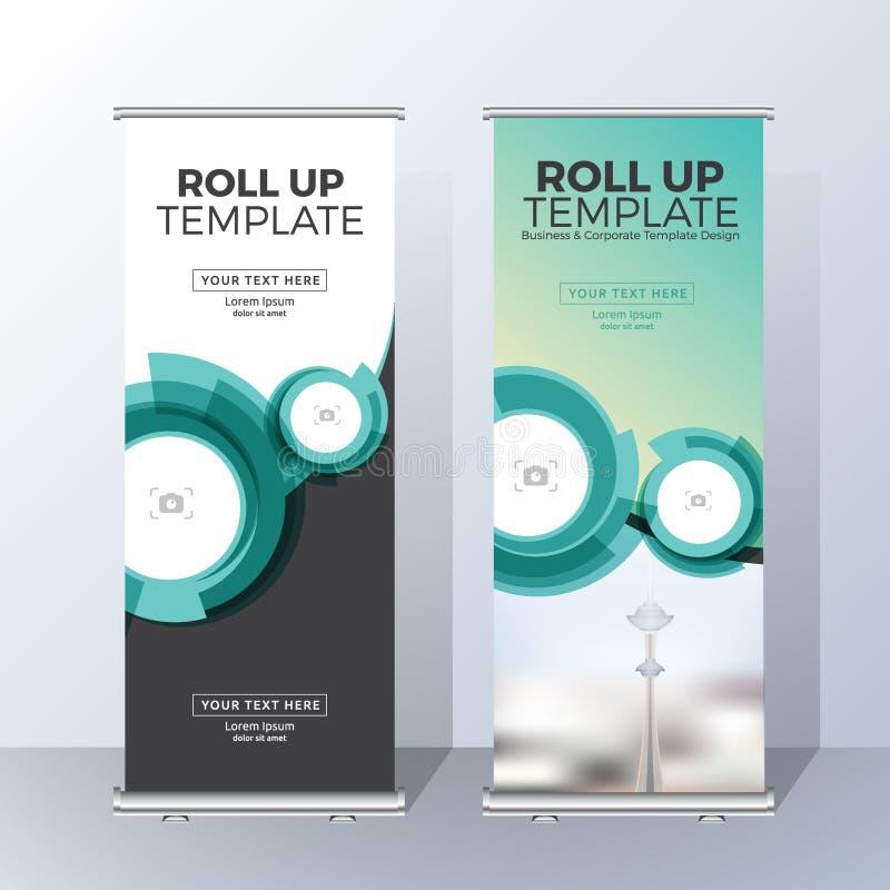 Vertikal rollen Sie oben Fahnen-Schablonen-Design lizenzfreie abbildung