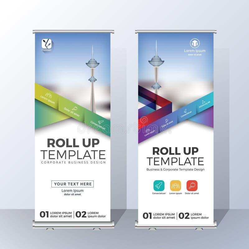Vertikal rollen Sie oben Fahnen-Schablonen-Design für ankündigen und Adverti lizenzfreie abbildung