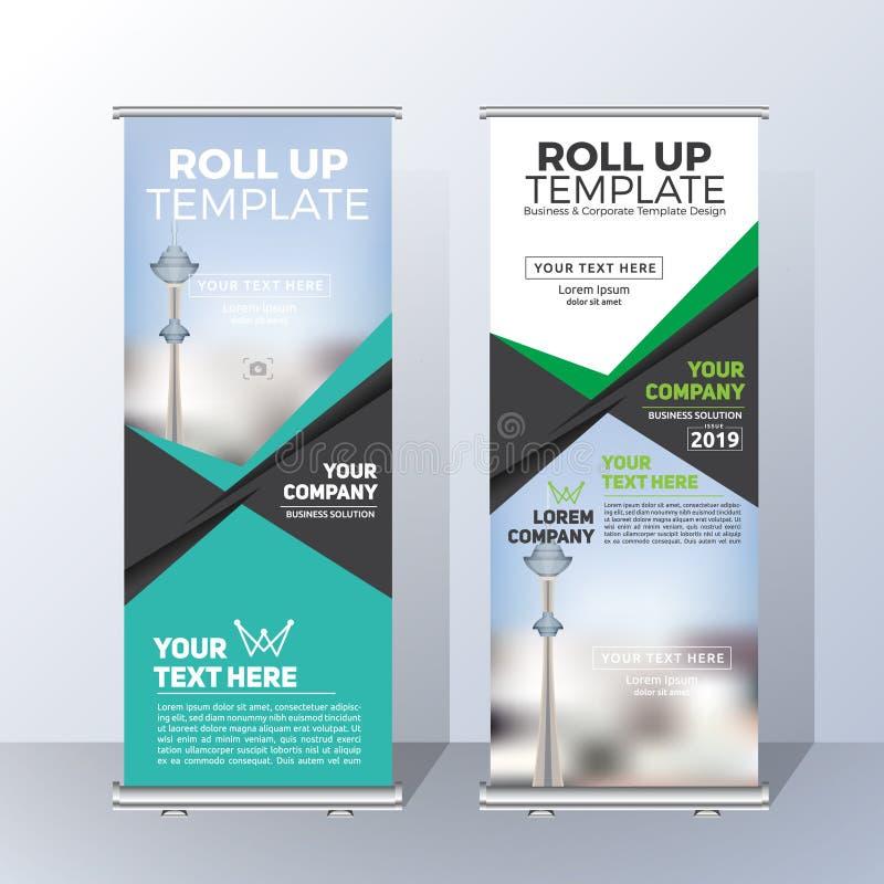 Vertikal rollen Sie oben Fahnen-Schablonen-Design für ankündigen und Adverti stock abbildung