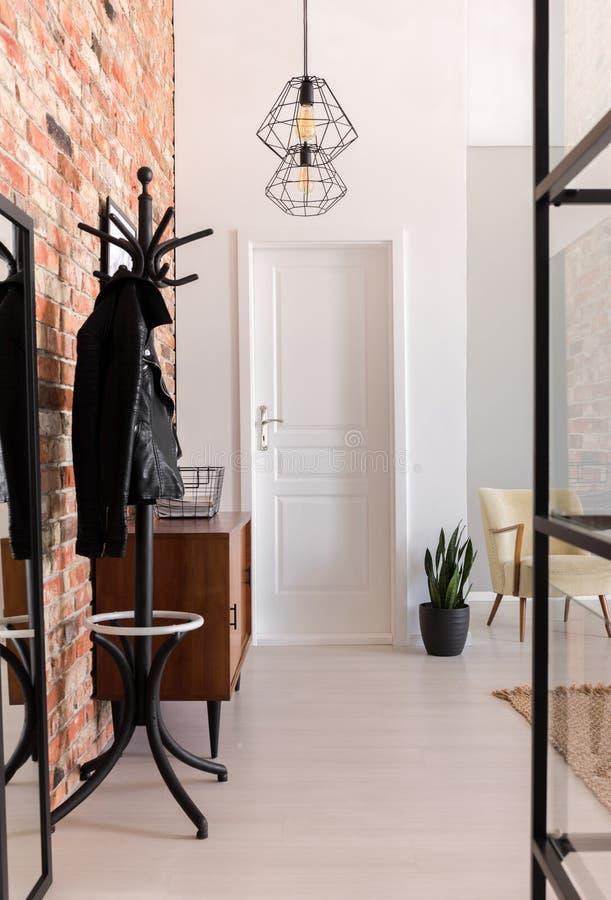 Vertikal sikt av den eleganta farstun med den vita dörren arkivbilder
