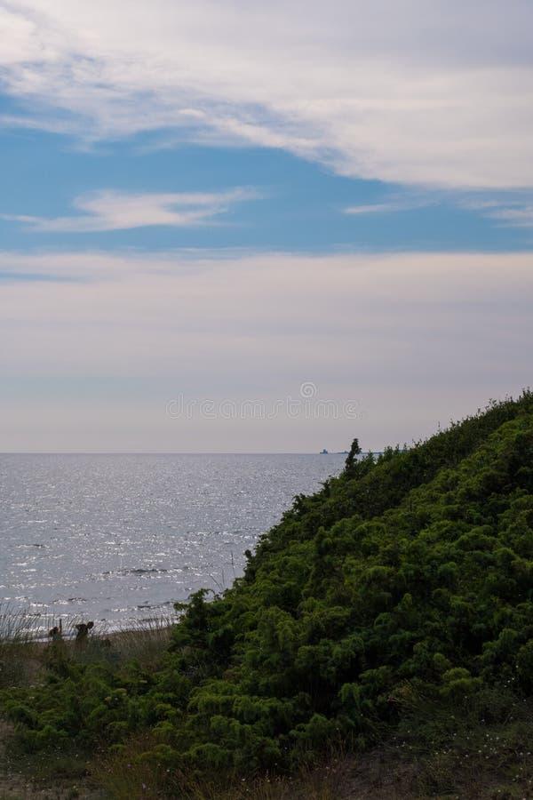Vertikal sikt av gröna dyn med havsvatten och molnbackgrou arkivbilder