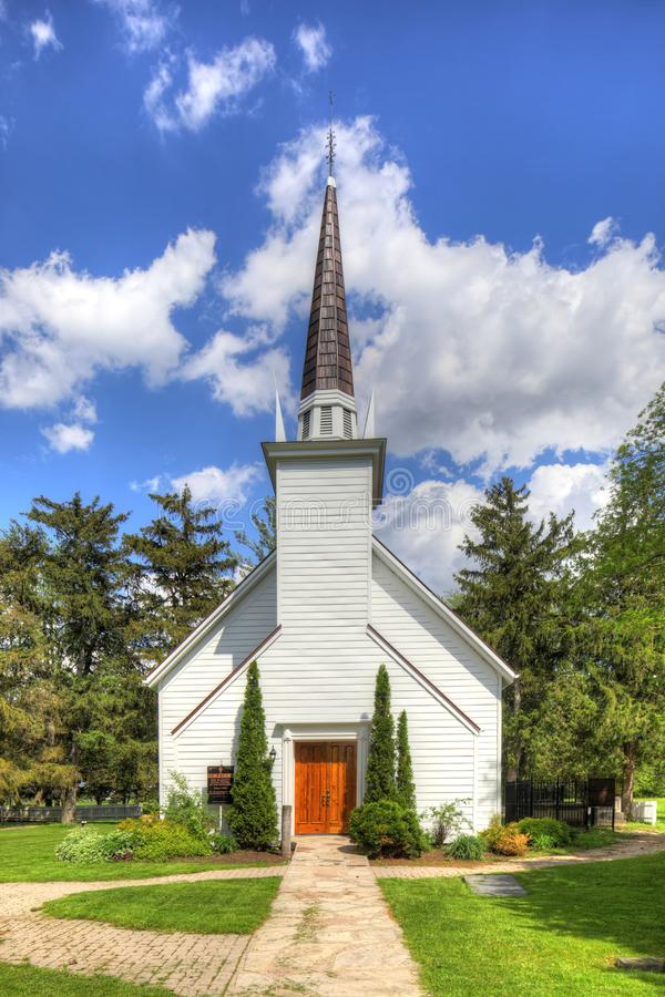Vertikal sikt av Mohawkkapellet i Brantford, Kanada arkivbild