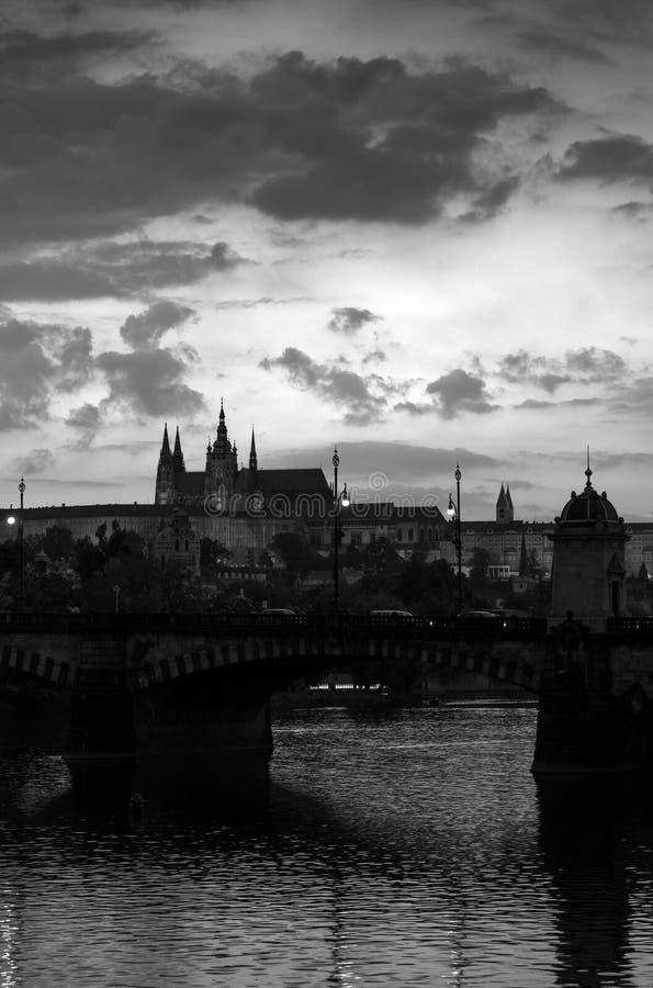 Vertikal svartvit formell stående av Prague bridge floden royaltyfri foto