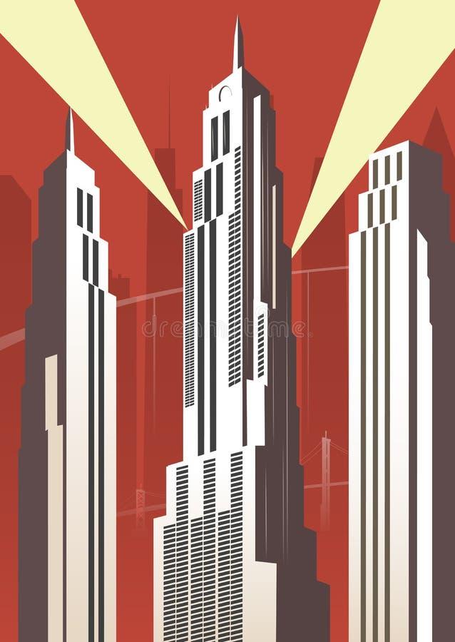 Vertikal tecknad filmstad vektor illustrationer