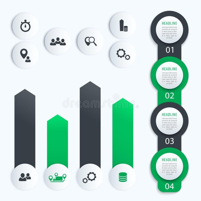 Vertikal timeline, affärsinfographics vektor illustrationer