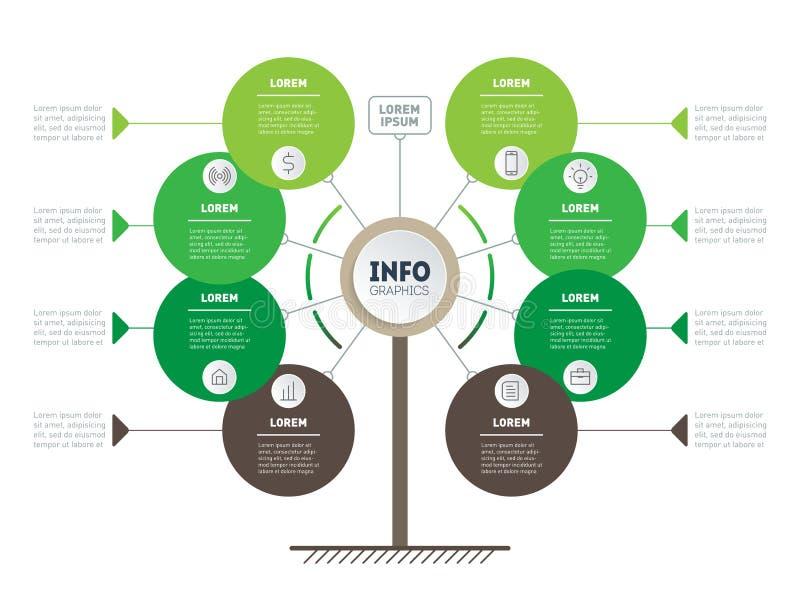 Vertikal Timeline Infographics Träd av utvecklings- och tillväxtnollan royaltyfri illustrationer
