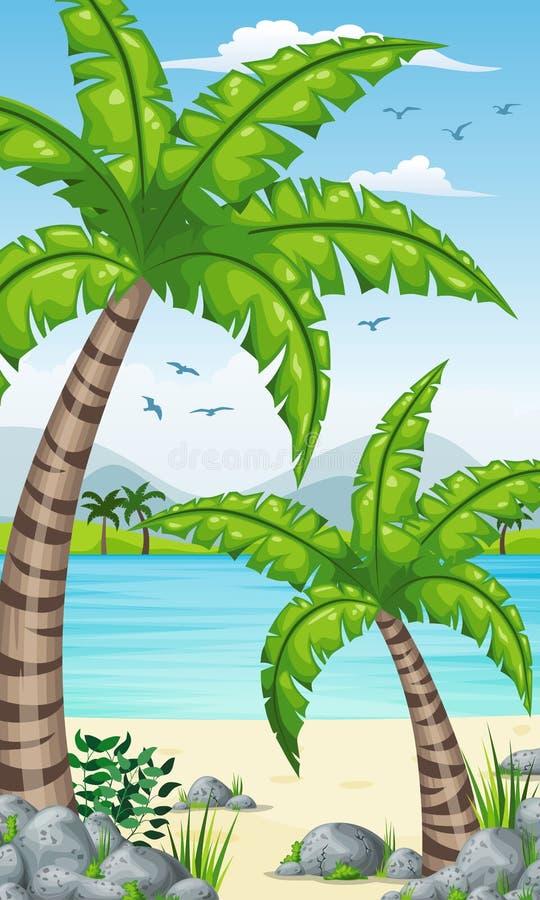 Vertikal tropisk kust- bakgrund stock illustrationer