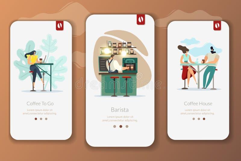 Vertikala baner för coffee shop stock illustrationer