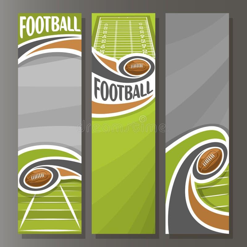 Vertikala baner för vektor för amerikansk fotboll vektor illustrationer