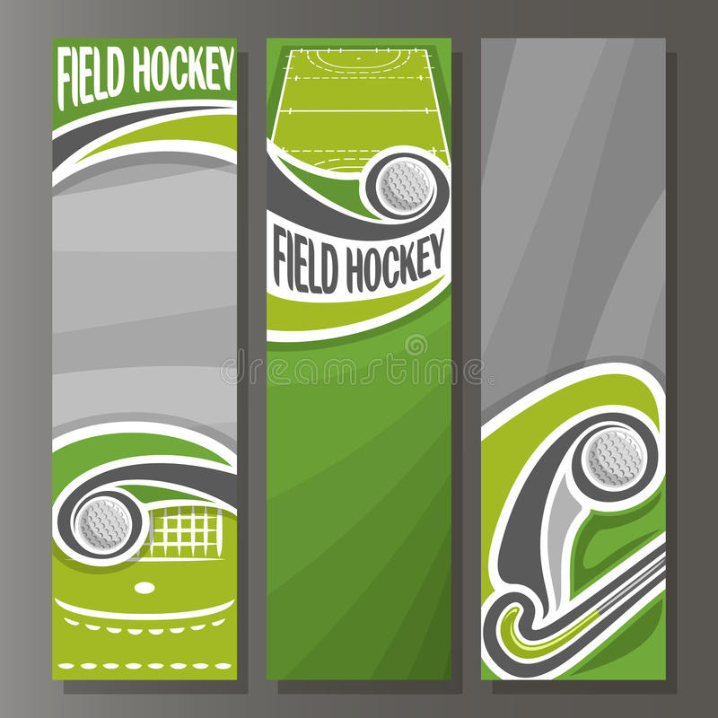 Vertikala baner för vektor för landhockey stock illustrationer