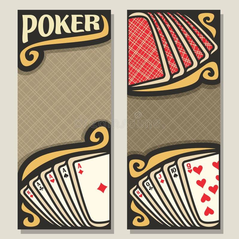 Vertikala baner för vektor för poker royaltyfri illustrationer
