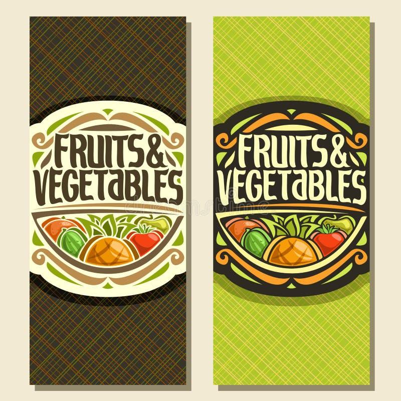 Vertikala baner för vektor för frukter och grönsaker stock illustrationer