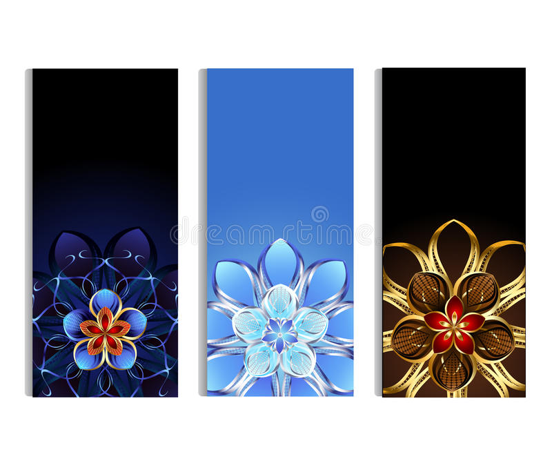 Vertikala baner med abstrakta blommor stock illustrationer