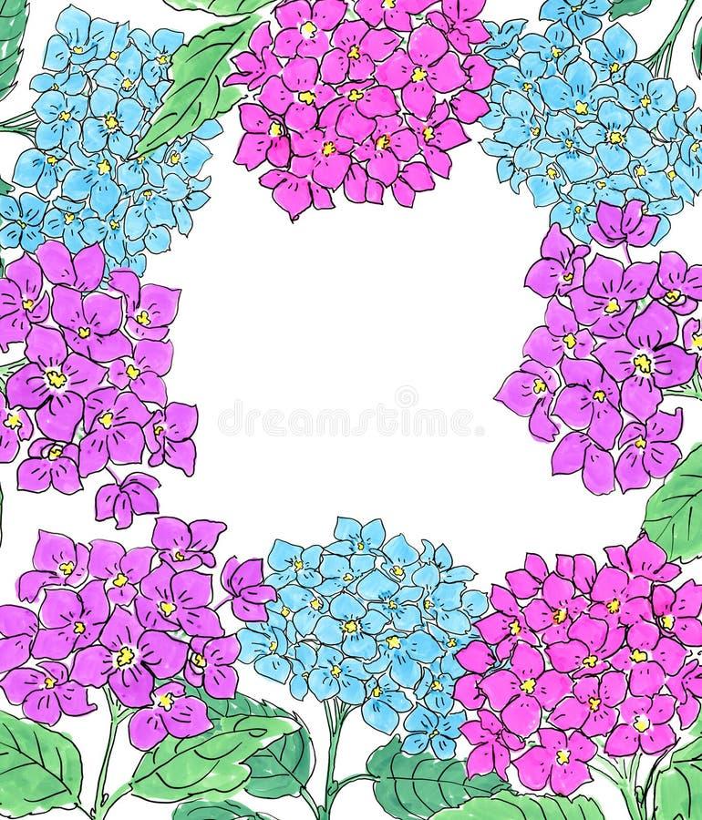 Vertikala baner med den blåa och rosa vanliga hortensian blommar på vit bakgrund Blom- design för skönhetsmedel, doft, skönhetoms vektor illustrationer