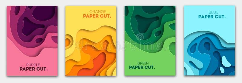 Vertikala baner ställer in med bakgrund för abstrakt begrepp 3D, och papperssnittet formar Vektordesignorientering för affärspres arkivbilder