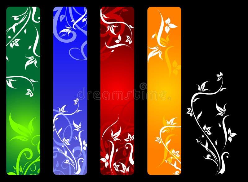 vertikala banerblommor stock illustrationer