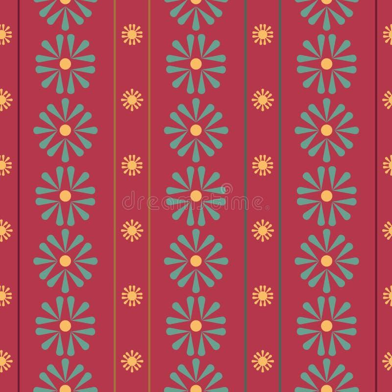 Vertikala Folk tusenskönor för vektor med band på röd sömlös modellbakgrund royaltyfri illustrationer