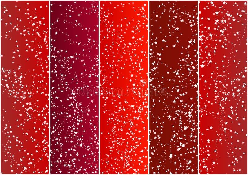 vertikala fulla röda stjärnor för baner royaltyfri illustrationer