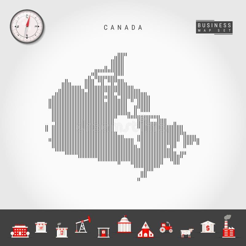Vertikala linjer översikt för vektor av Kanada Randig kontur av Kanada Realistisk kompass symboler f?r ai-aff?r cs2 eps inkludera stock illustrationer