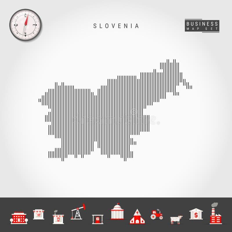 Vertikala linjer översikt för vektor av Slovenien Randig kontur av Slovenien Realistisk kompass symboler f?r ai-aff?r cs2 eps ink stock illustrationer