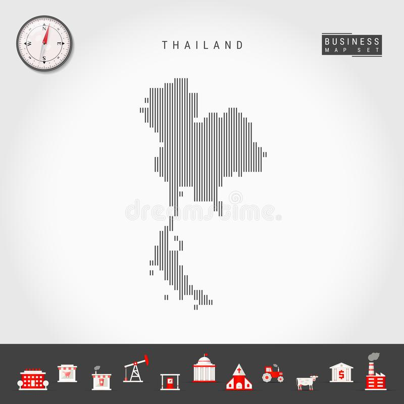 Vertikala linjer översikt för vektor av Thailand Randig kontur av Thailand Realistisk kompass symboler f?r ai-aff?r cs2 eps inklu stock illustrationer