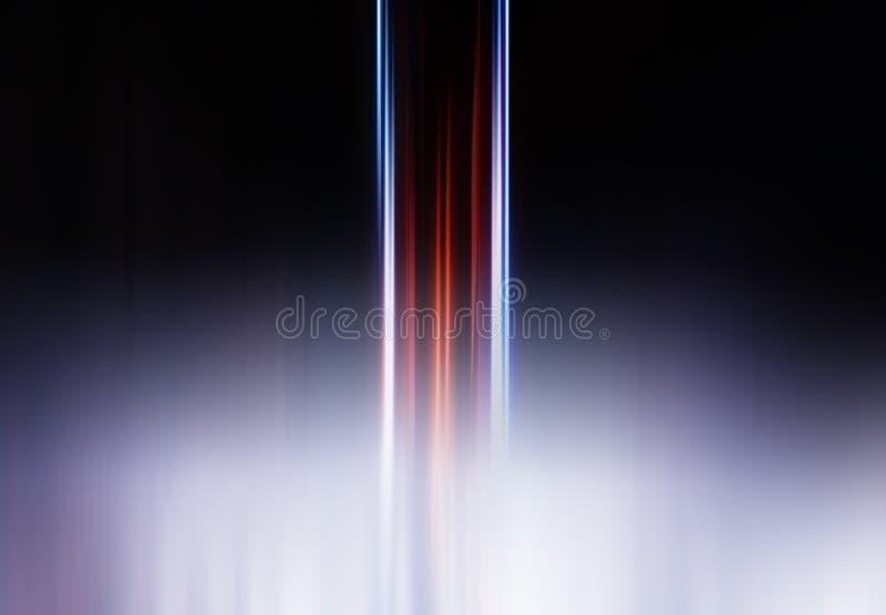 Vertikala röda och blåa linjer för rörelsesuddighet i dimmabakgrund stock illustrationer