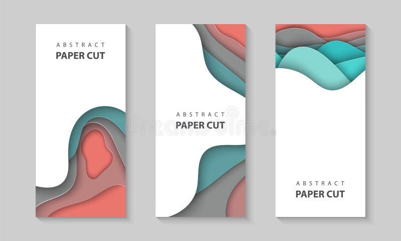 Vertikala reklamblad för vektor med färgrika former för papperssnittvågor 3D abstrakt pappers- stil, designorientering för affärs vektor illustrationer