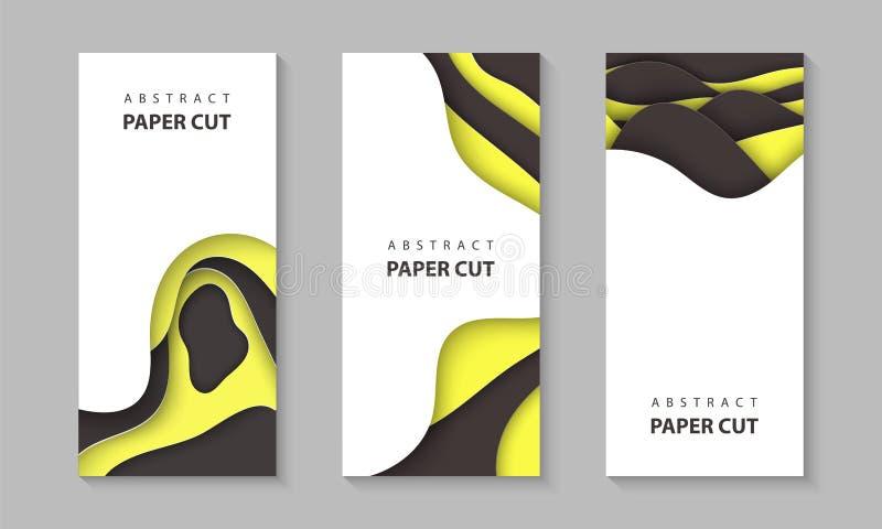Vertikala reklamblad för vektor med gula svarta former för färgpapperssnitt 3D abstrakt pappers- stil, designorientering för affä stock illustrationer