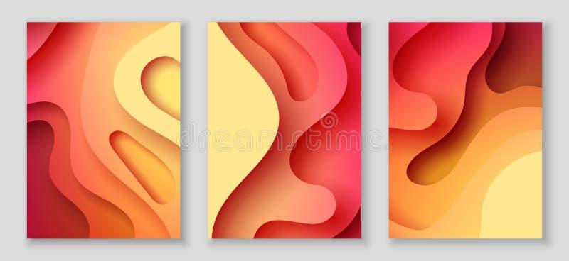 Vertikala reklamblad A4 med bakgrund för abstrakt begrepp 3D med papper klippte röda vågor Vektordesignorientering vektor illustrationer