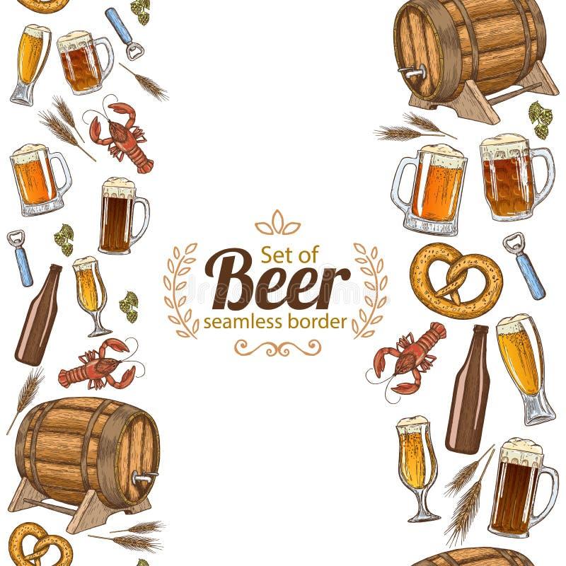 Vertikala sömlösa gränser av öl vektor illustrationer