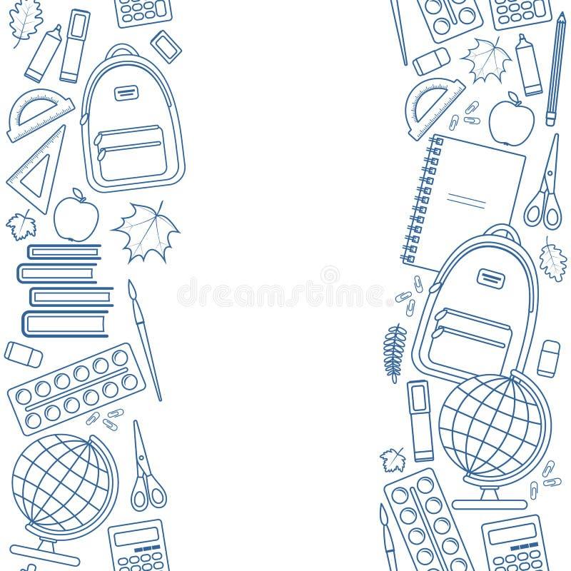 Vertikala sömlösa gränser av utbildningsobjekt stock illustrationer