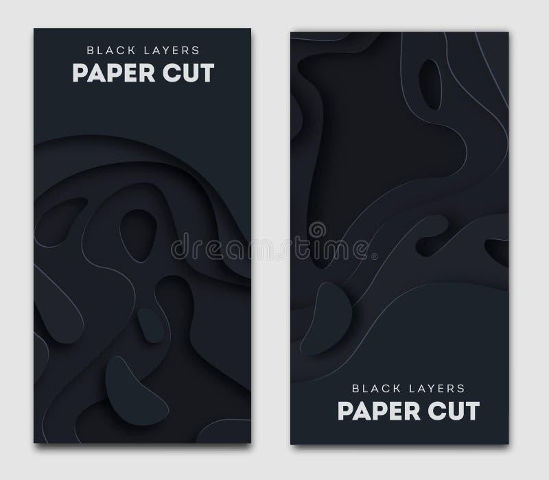 Vertikala svarta baner med abstrakt bakgrund 3D, vitboksnittformer Vektordesignorientering för affärspresentationer, vektor illustrationer