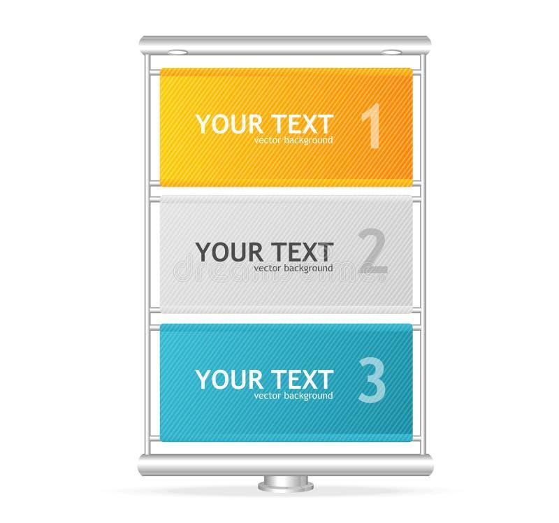 Vertikale Anschlagtafel des Vektors mögen Textboxen lizenzfreie abbildung