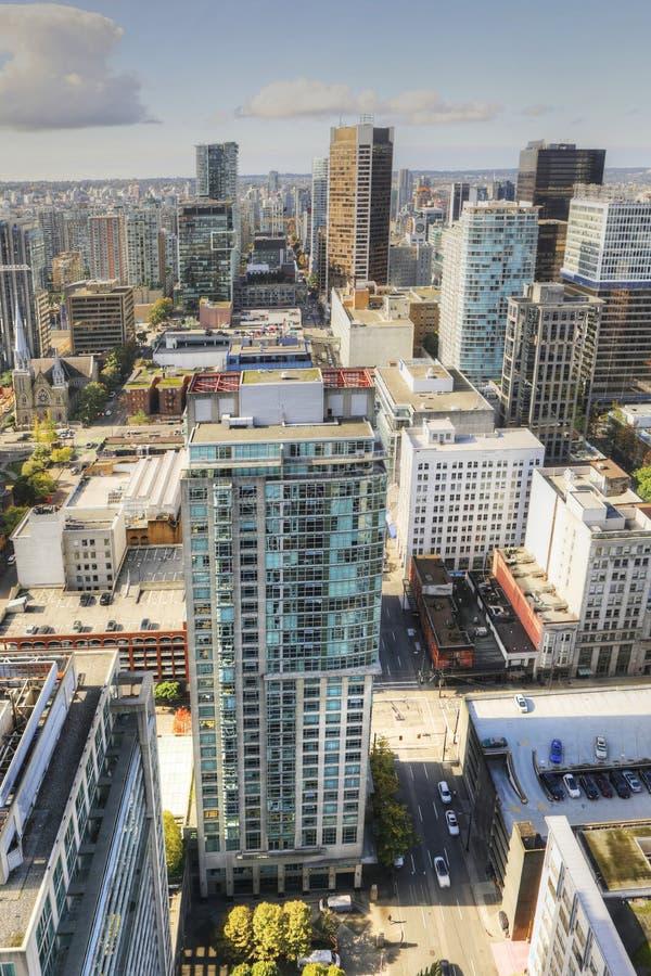Vertikale Antenne des Vancouvers, Kanada Skyline stockfoto