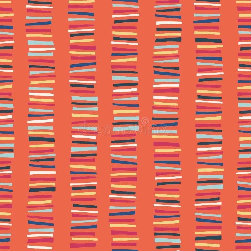 Vertikale blockiert nahtloses Vektormuster Kindischer abstrakter bunter Streifengekritzelhintergrund lizenzfreie abbildung