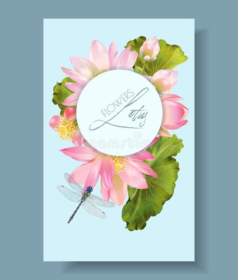 Vertikale Botanikfahne Lotus-Blume und -libelle vektor abbildung