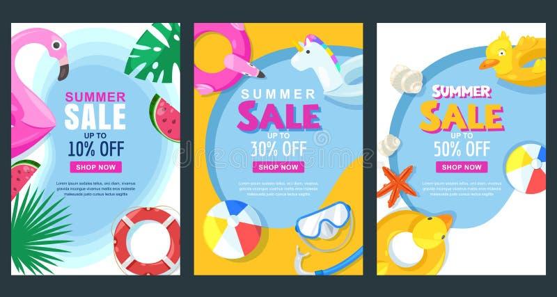 Vertikale Fahne des Sommerschlussverkaufs oder Plakatsatz Vector Illustration des Pools mit Flossgummispielwaren Gelbe und rote F lizenzfreie abbildung