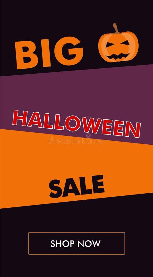 Vertikale Fahne Halloween-Verkaufs mit schiefer Rückseite vektor abbildung