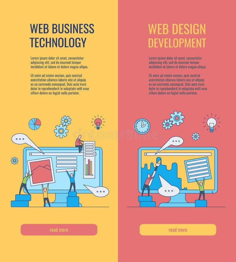 Vertikale Fahnen der Web-Entwicklung stellten mit Leuteschattenbildgebäude-Websiteseite ein und machten Design und notwendige Ein lizenzfreie abbildung