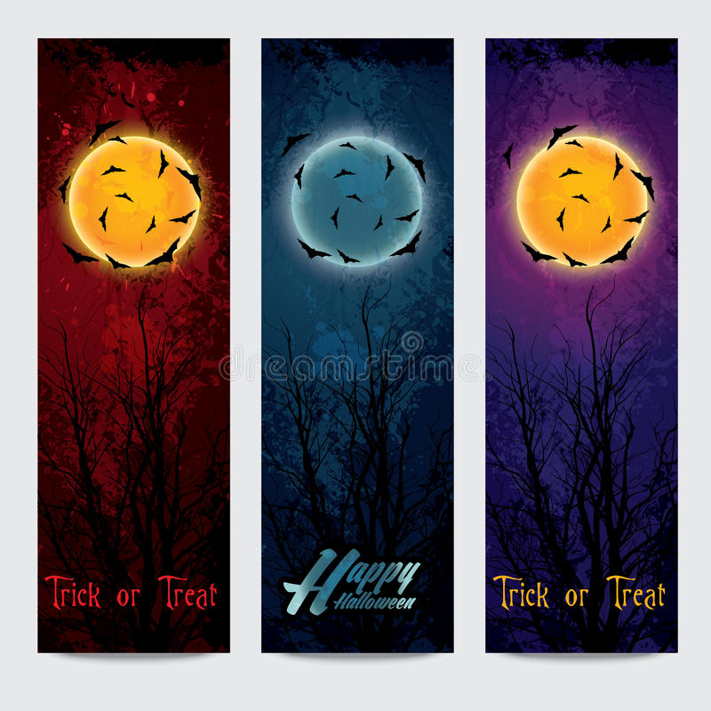 Vertikale Fahnen Halloweens eingestellt mit Mond stock abbildung