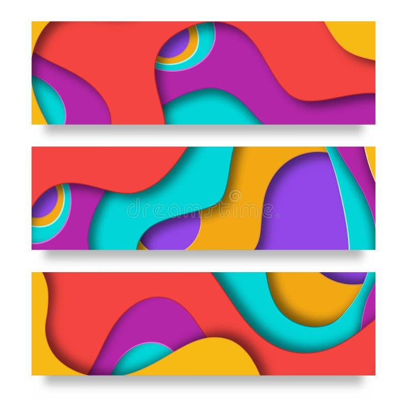 Vertikale Fahnen mit Hintergrund der Zusammenfassung 3D mit Papier schnitten Formen VektorEntwurf für Geschäftsdarstellungen lizenzfreie abbildung