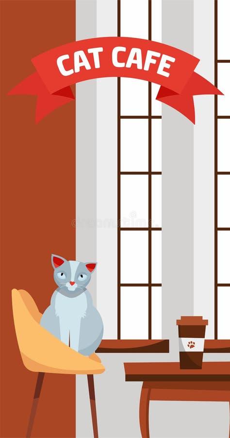 Vertikale Fahnenschablone für Katzencafé Nette graue Katze sitzt am Cafétisch nahe großem Fenster mit Papier Kaffeetasse Aufschri lizenzfreie abbildung