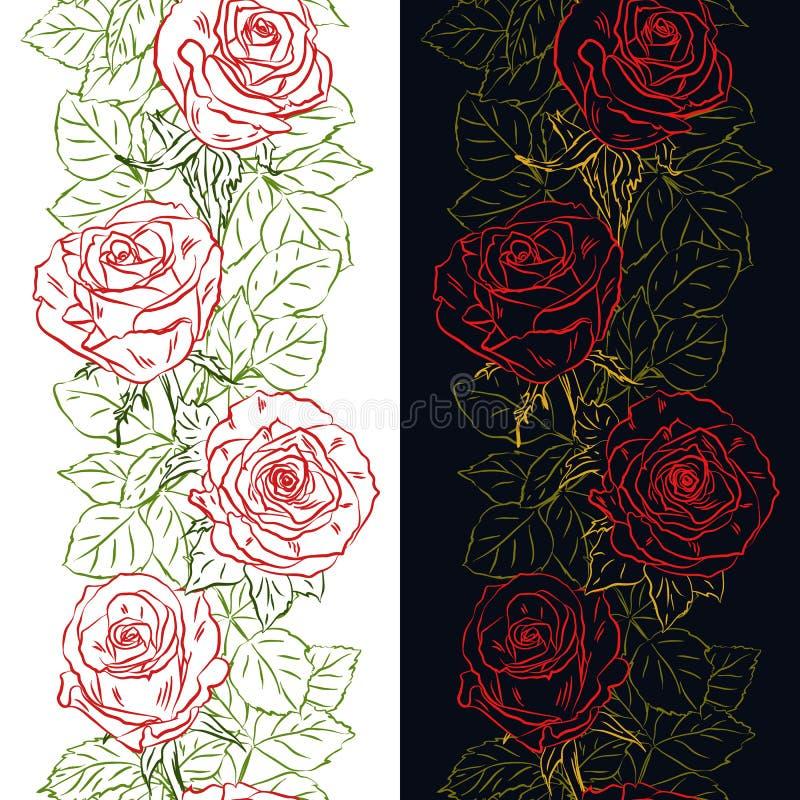 Vertikale Grenze des nahtlosen Entwurfs mit den rosafarbenen Knospen und den Blättern lizenzfreie abbildung