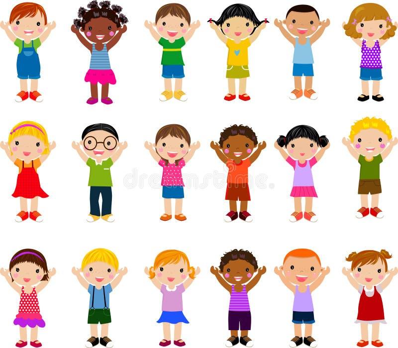 Vertikale Gruppe Kinder stock abbildung