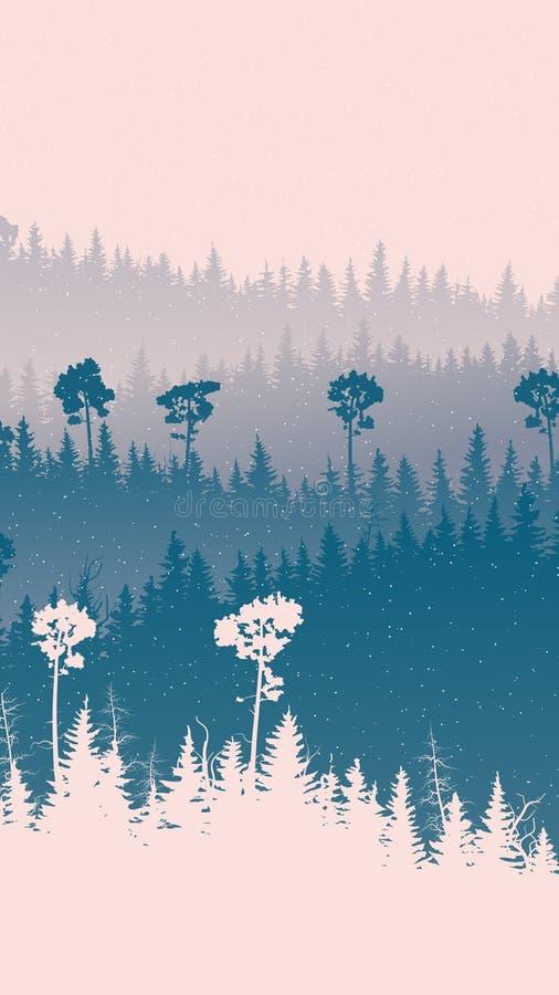 Vertikale Illustration von schneebedecktem Forest Hills stock abbildung