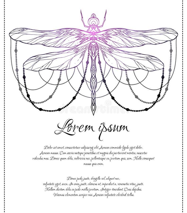 Vertikale Karte mit geistigem Libellenmuster mit Perlen und Raum für Text Magische Schablone vektor abbildung